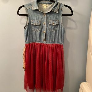 Knit Works size 12 girls dress denim and tulle